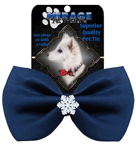 Snowflake Widget Pet Bowtie Navy Blue